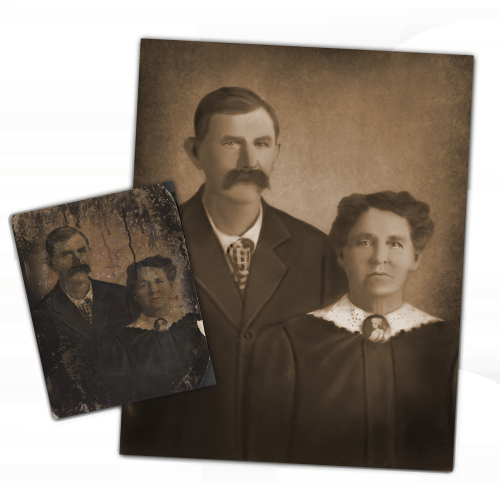 water damage on a photo repair by roots family history